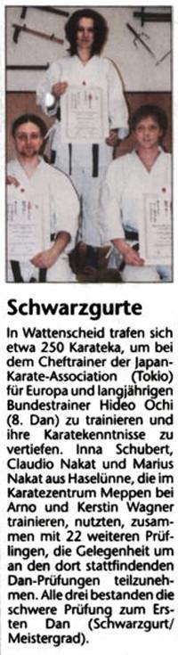 Schwarzgurte für Karateka aus Haselünne 09.03.2006