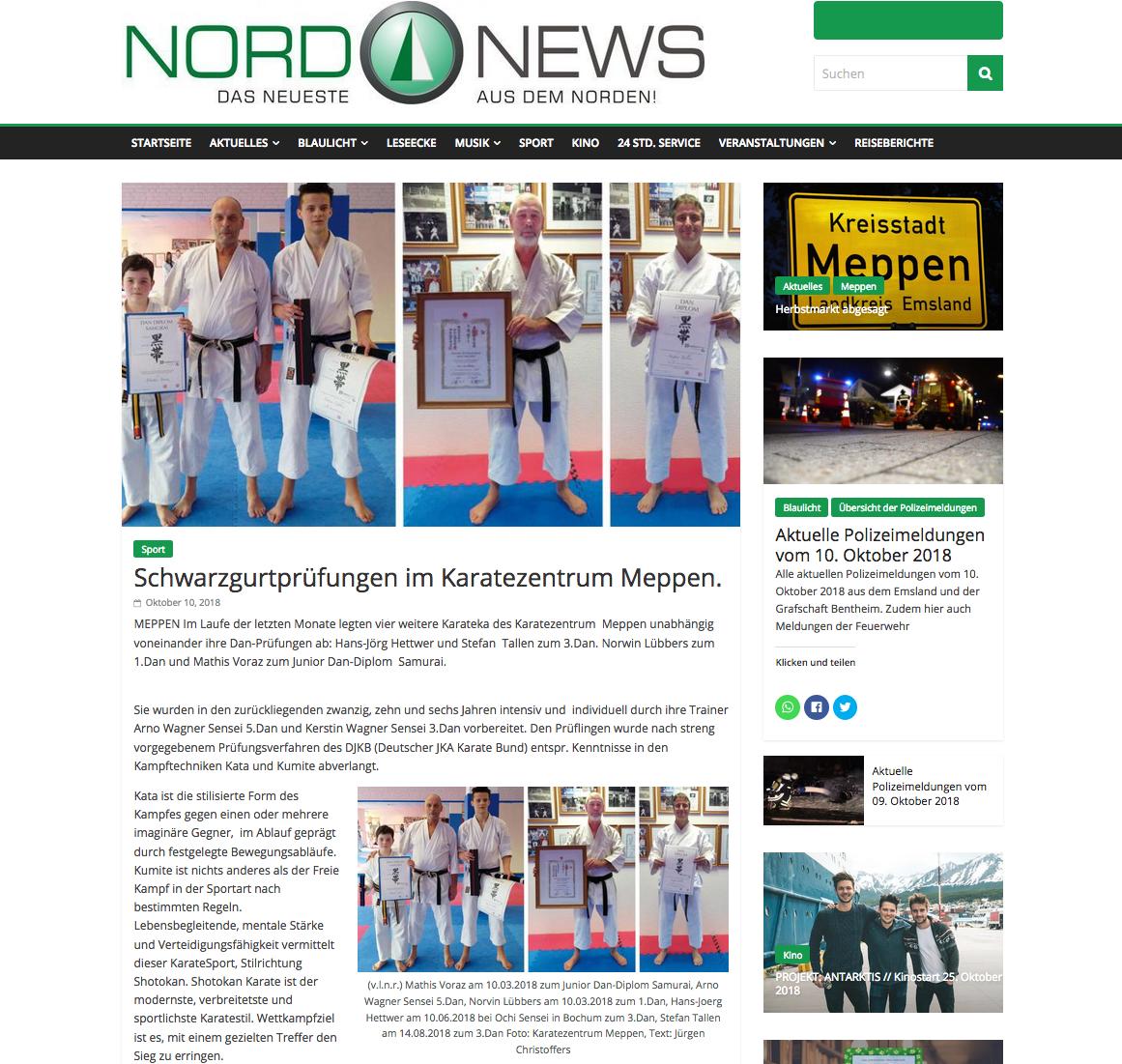 Danprüfungen Meppen 2018, NordNews-Online am 10.10.2018