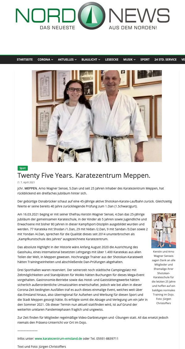 Twenty Five Years, Karatezentrum Meppen, nordnews am 07.04.2021