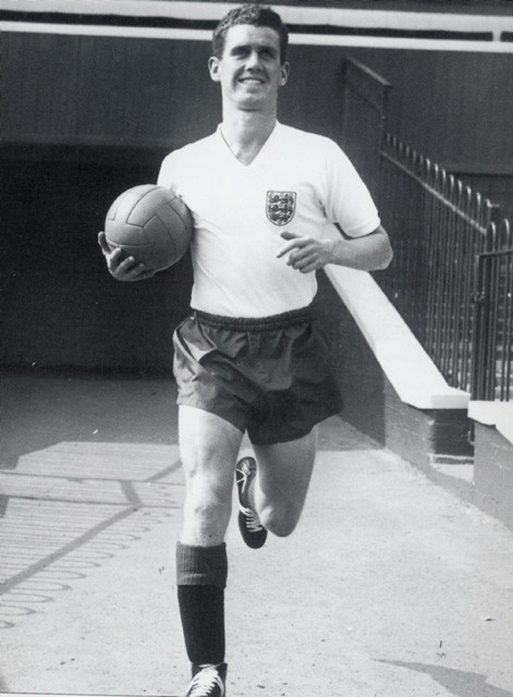 Ronnie Clayton proudly poses as England Captain at Ewood Park, circa 1955-1960.