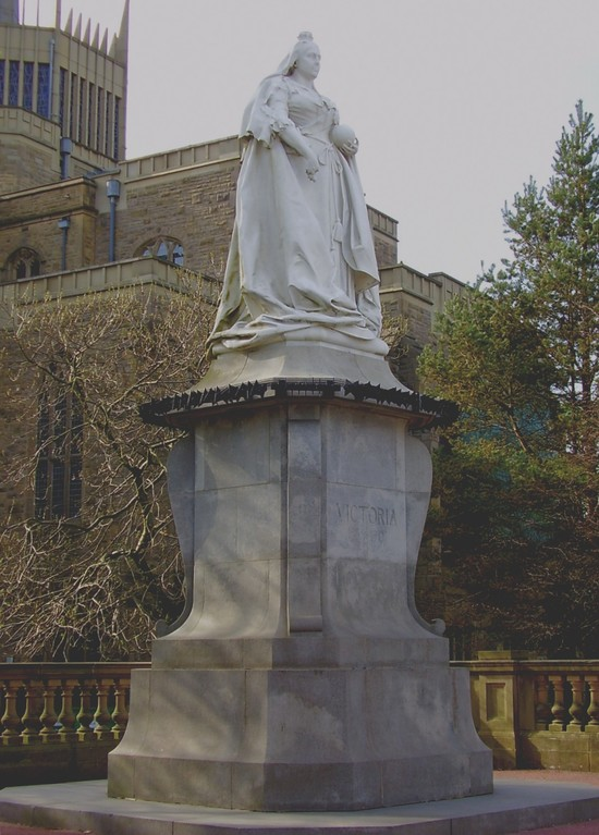 Blackburn's Statue of Queen Victoria with the cathedral in the background