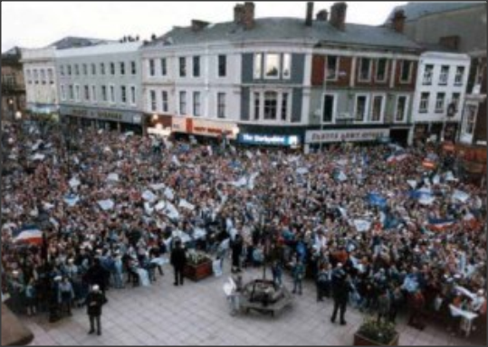 12,000 delerious Rovers fans outside Blackburn Town Hall for the civic reception held in honour of the 1987 Full Members Cup triumph.