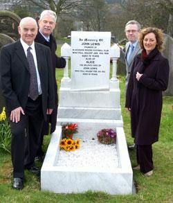 2008: (L-R) Rev Ken Howles,  Rovers' Director John Williams, Peter Lupson (who rediscovered John Lewis' gravestone while compiling research for his book on football club founders) & Gwenda Haydock (great, great, great niece of Lewis).