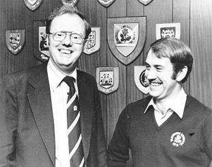 Howard Kendall pictured with former Blackburn Rovers chairman David Brown back in 1980.