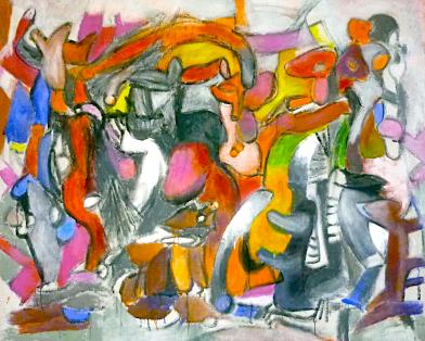 Symphonie im Rot    185cm. 150cm  Acryl auf Leinwand  2012