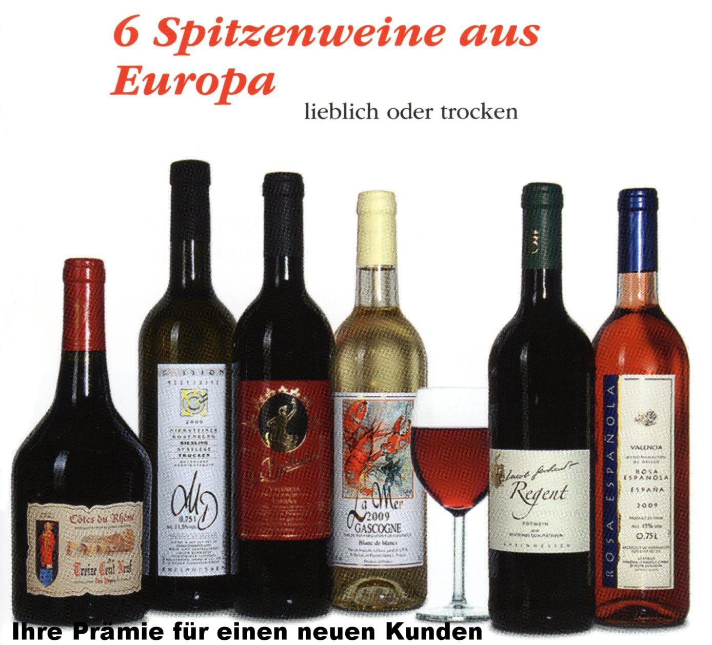 6 Flaschen Wein trocken oder lieblich