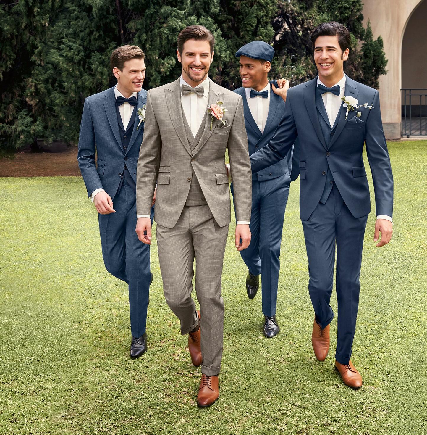 Hochzeit Blauer Anzug Braune Schuhe