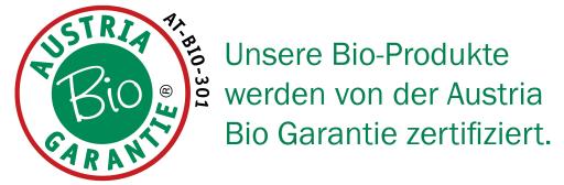 Unsere Bio-Produkte werden von der Austria Bio Garantie zertifiziert.