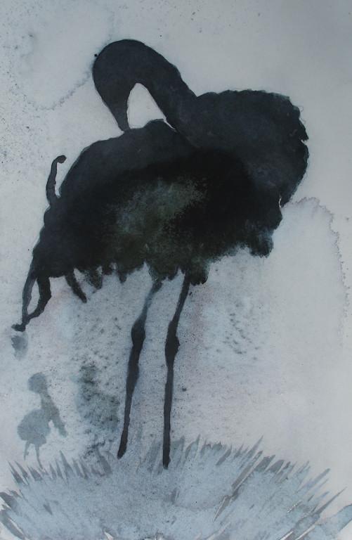 Kranich 1 Aquarell 18x24 2007