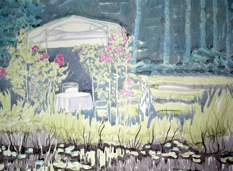 Pavillon Aquarell 86x61 2005