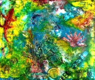 Wassergarten Acryl 120x100 2009