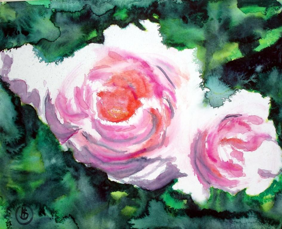 Rosen   Aquarell  28x34  2005  Privatbesitz