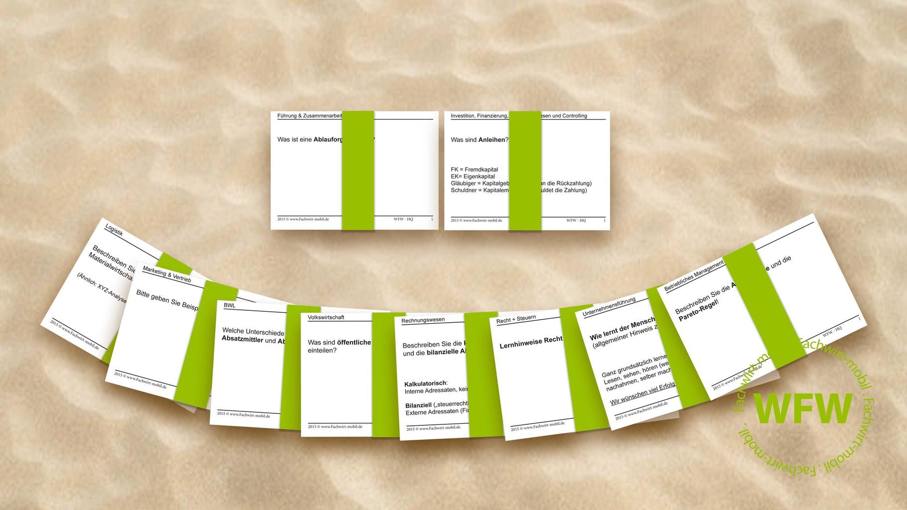 """Lernkarten """"Geprüfter Wirtschaftsfachwirt (IHK)"""" (gedruckt, geschnitten, verschickt mit DHL)"""