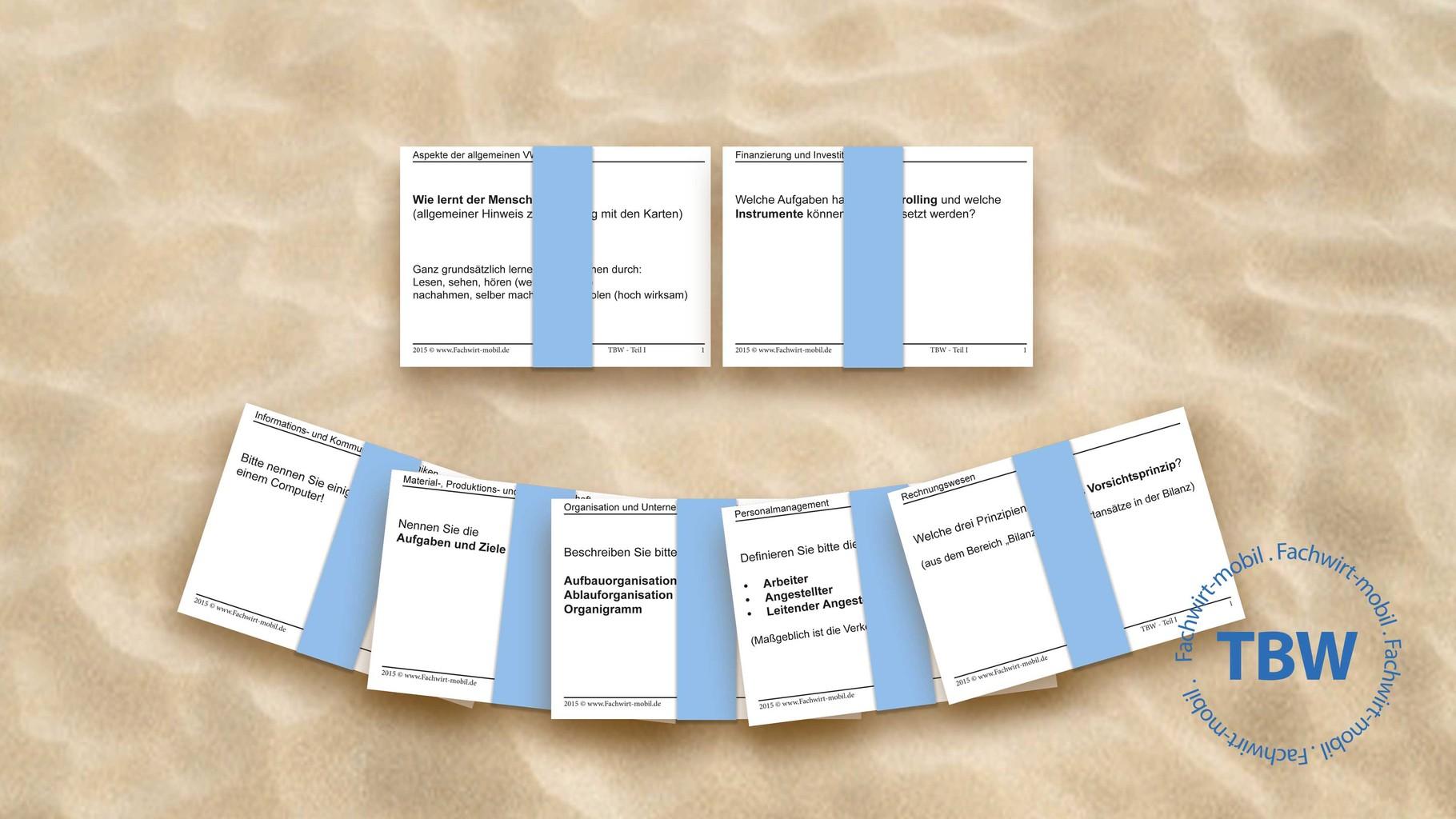 """Lernkarten """"Geprüfter Technischer Betriebswirt (IHK)"""" (gedruckt & geschnitten, per DHL)"""