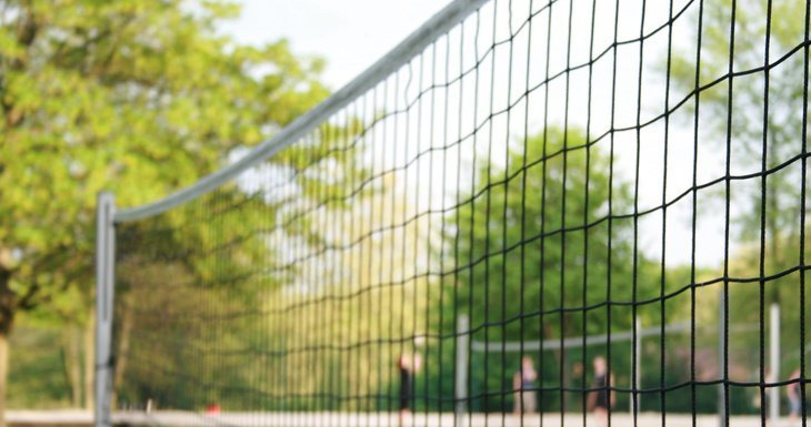 Volley ball area with net