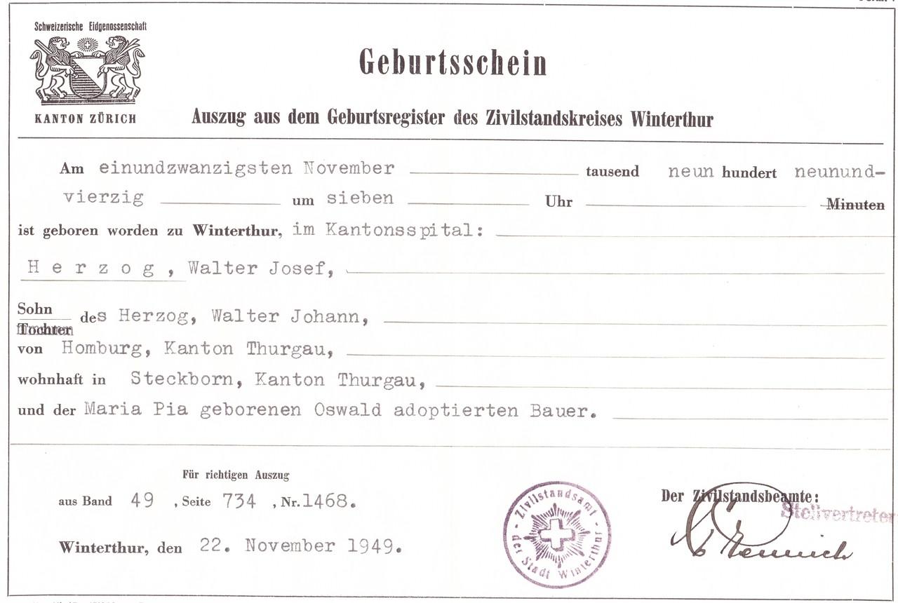 Curriculum Vitae erweitert - Prof. Dr. Walter Herzog
