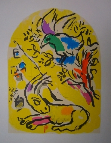 Marc Chagall & Charles Sorlier, Original lithograph Naphtali, first color study from Jerusalem Windows PC.049 (1962)
