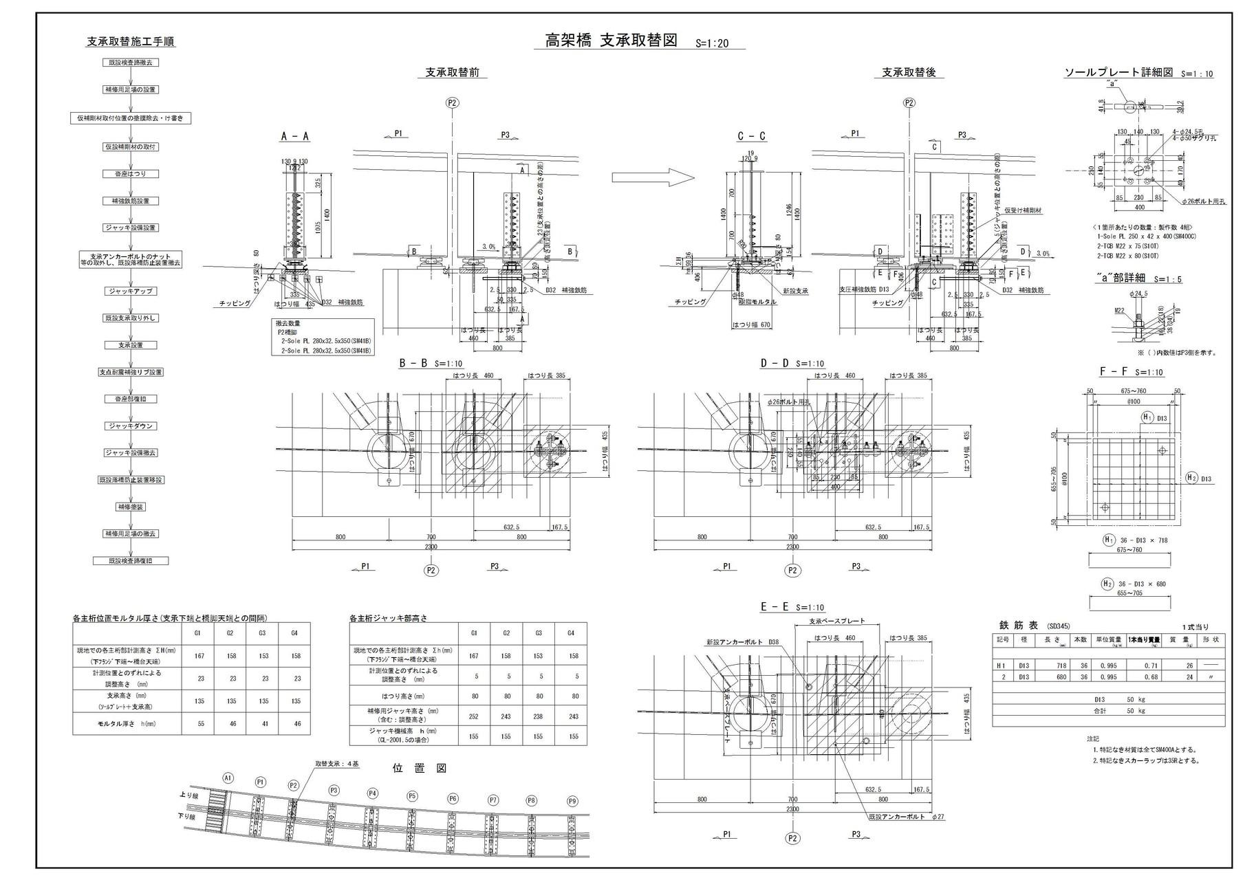 ○補修・補強設計・・・高架橋支承取替図