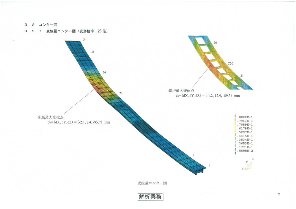 ○FEM解析を伴う補強設計・・・曲線2主桁橋の床版打設時の安全性解析
