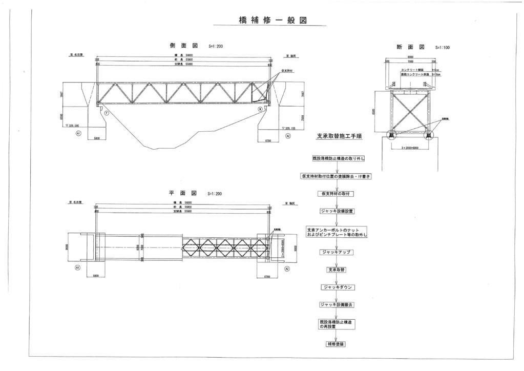 ○補修・補強設計・・・トラス支承取替え補強一般図