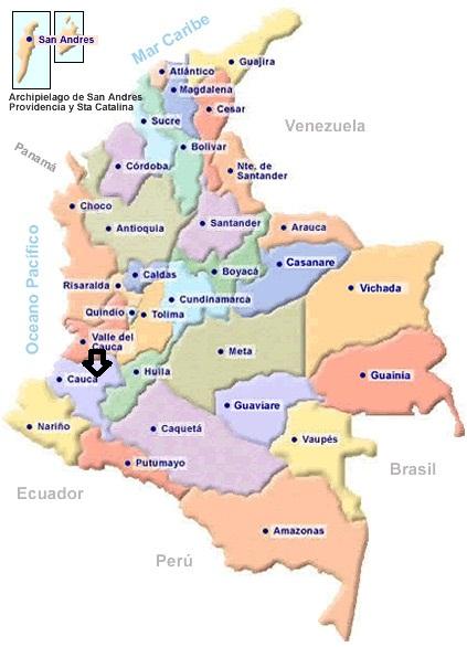 Les départements colombiens (la flèche indique le lieu de la Finca)