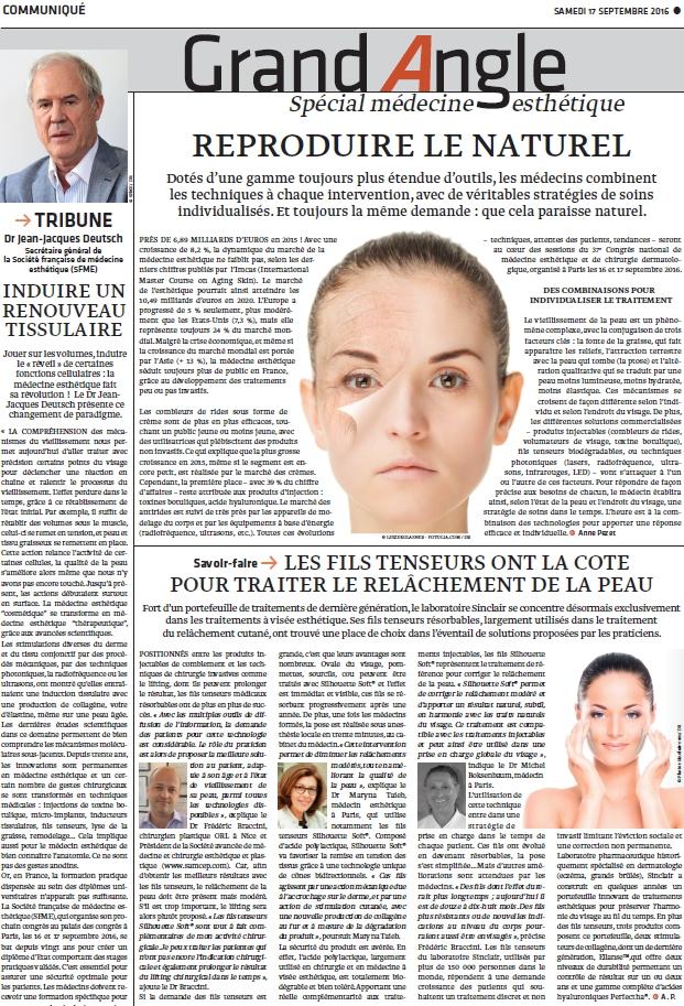 Le Monde - Grand angle médecine esthétique - septembre 2016