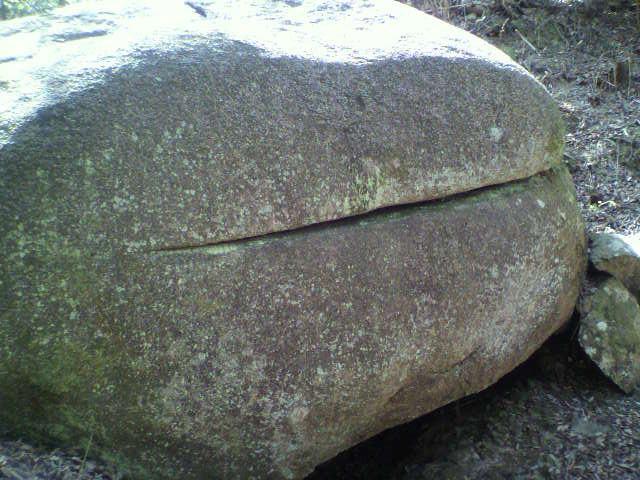 ほしだ園地「ハンバーガー岩」2つに割れたところは正にハンバーガー、さて誰が割ったのか?