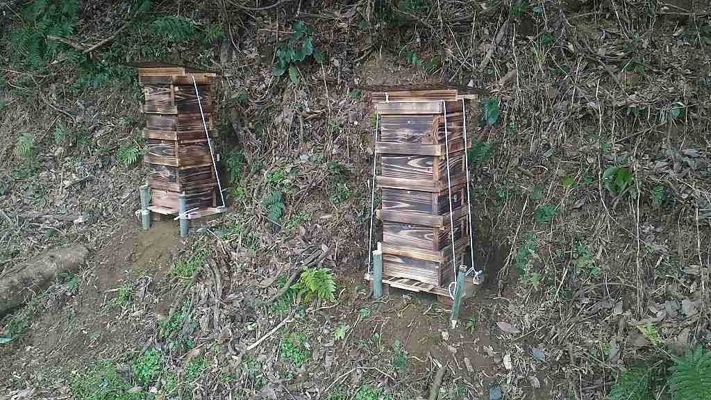 蜜蜂を呼び込むため、市販の蜜蝋を内部に塗りこみます。2週間後に再度塗ります。