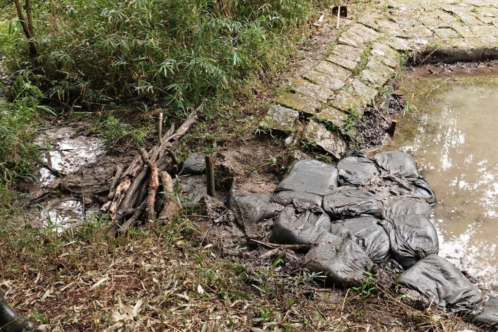 さんさくの池の水漏れ対策(土のう積みの様子)
