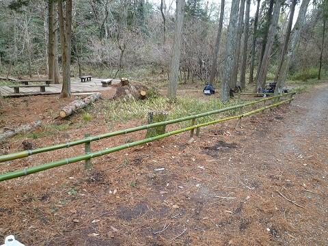 八つ橋の竹柵の作業後