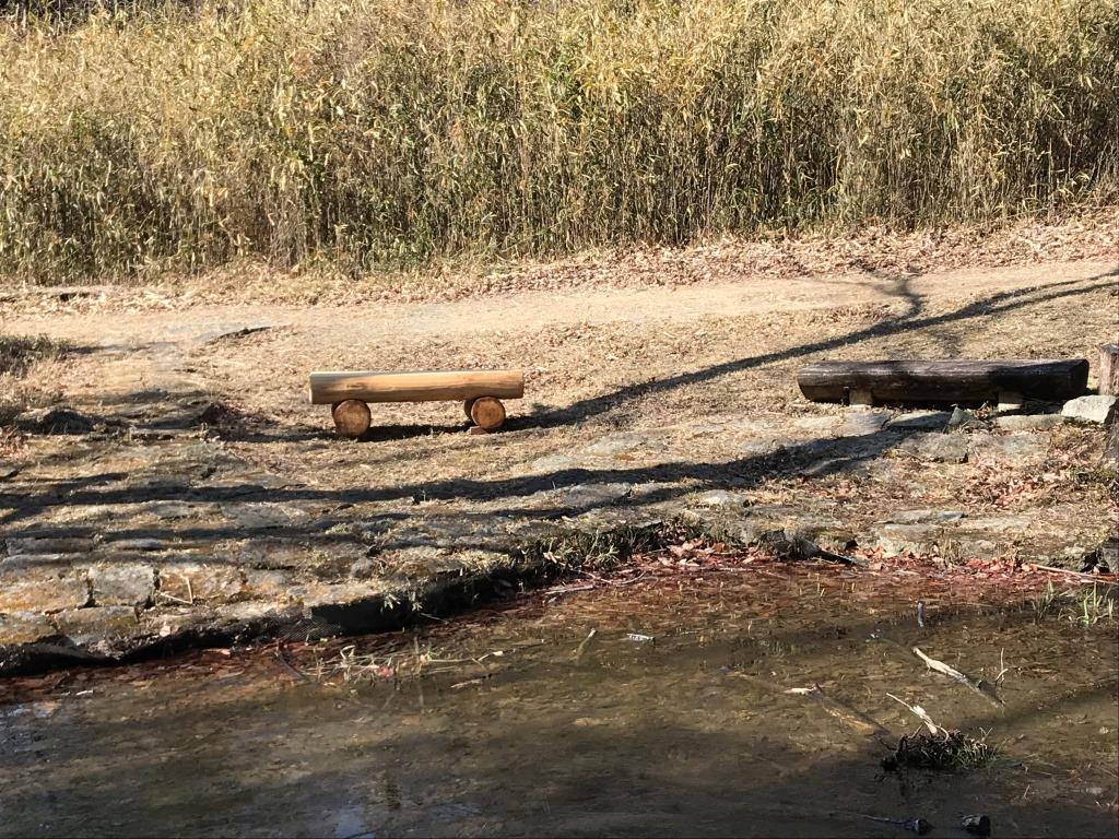 さんさくの池に設置されたベンチ