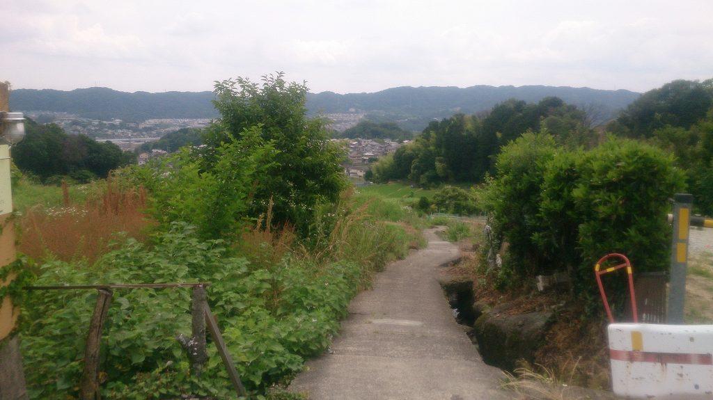 畑のそばを、登山口まで歩いていきます。傾斜がある道です。