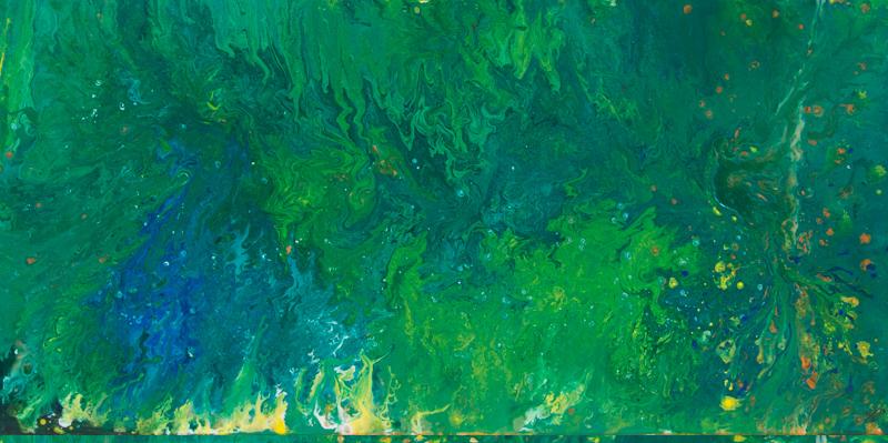 Green ocean - Fluid Painting, 100x50 cm, 2017, S. Ulrich - VERKAUFT