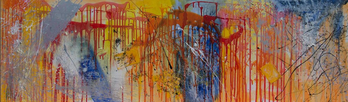 Inspiration - Acryl auf Leinwand, Collage, 200x60 cm, 2017, U. Schachner