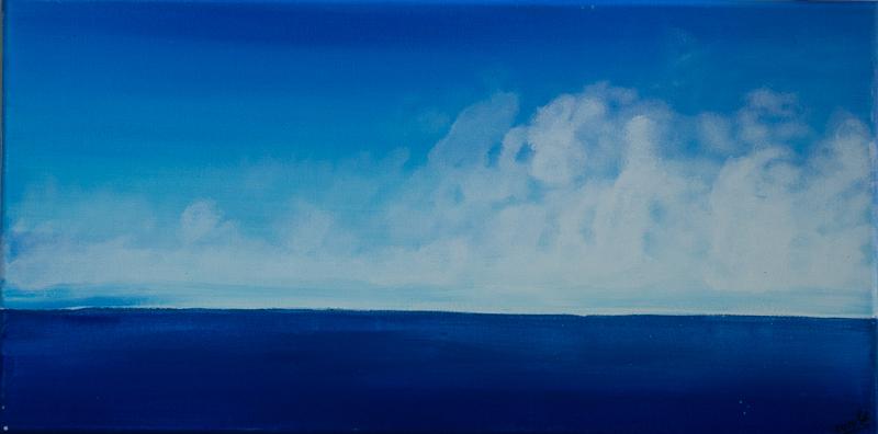 blue horizon - Acryl auf Leinwand, 60x30 cm, 2014, U. Schachner
