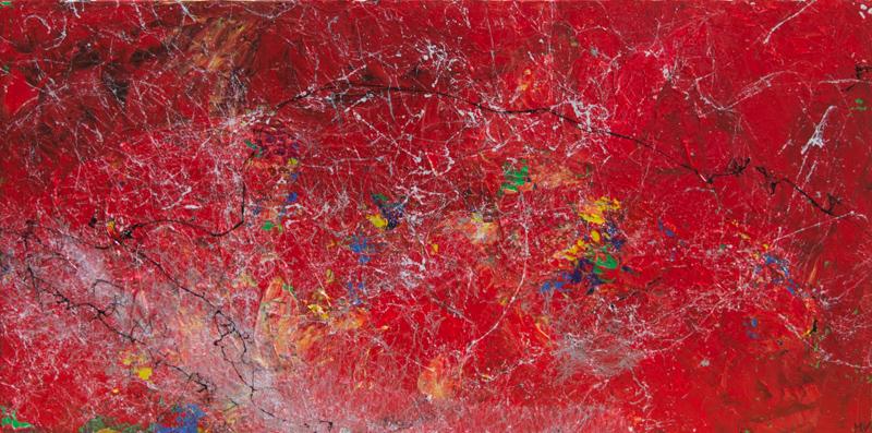 Red galaxy - Acryl auf Leinwand, 80x40 cm, 2017, M. Weber