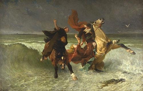 """""""La fuite du Roi Gradlon"""" Evariste-Vital Luminais 1884"""