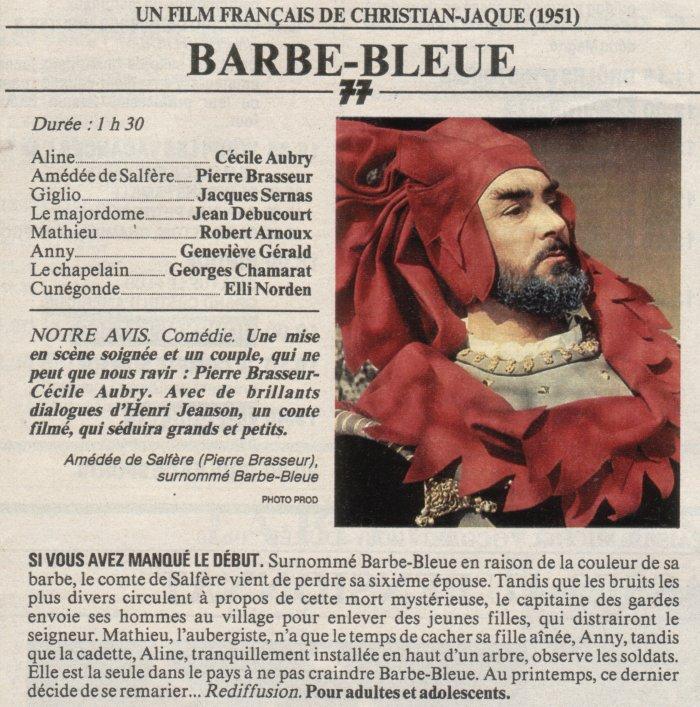 Programmation du film Barbe-Bleue de C Jacques avec Pierre Brasseur et Cécile Aubry