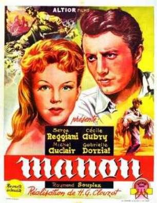 Affiche du film Manon de H-G Clouzot avec Cécile Aubry, Michel Auclair et Serge Reggiani