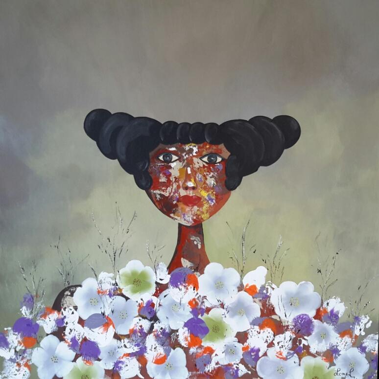 A fleurs de peau 60X60 220€. Variation. VENDU