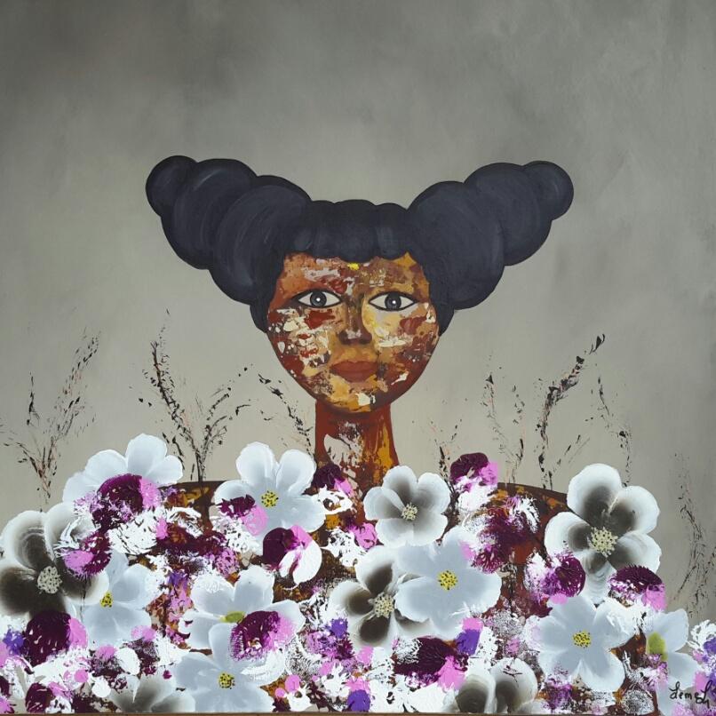 A fleurs de peau 60X60 220€.vendu.
