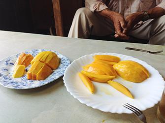 なんと贅沢にも、生マンゴーを試食させていただきました。アップルマンゴーのアーウィンはジューシーな甘さ、躍動感ある風味が弾けます。希少な「金煌」と呼ばれるマンゴーは、すぅっととろけるようなきめの細かい口当たり。ボディのある甘みが、芳香さを漂わせながらじわりじわりと広がります(今シーズンの生マンゴーの出荷は終了しました)