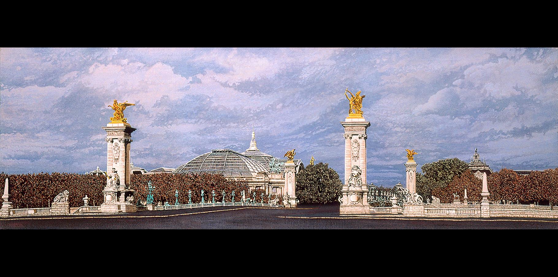 Pont Alexandre III et Grand Palais  - acrylique sur toile