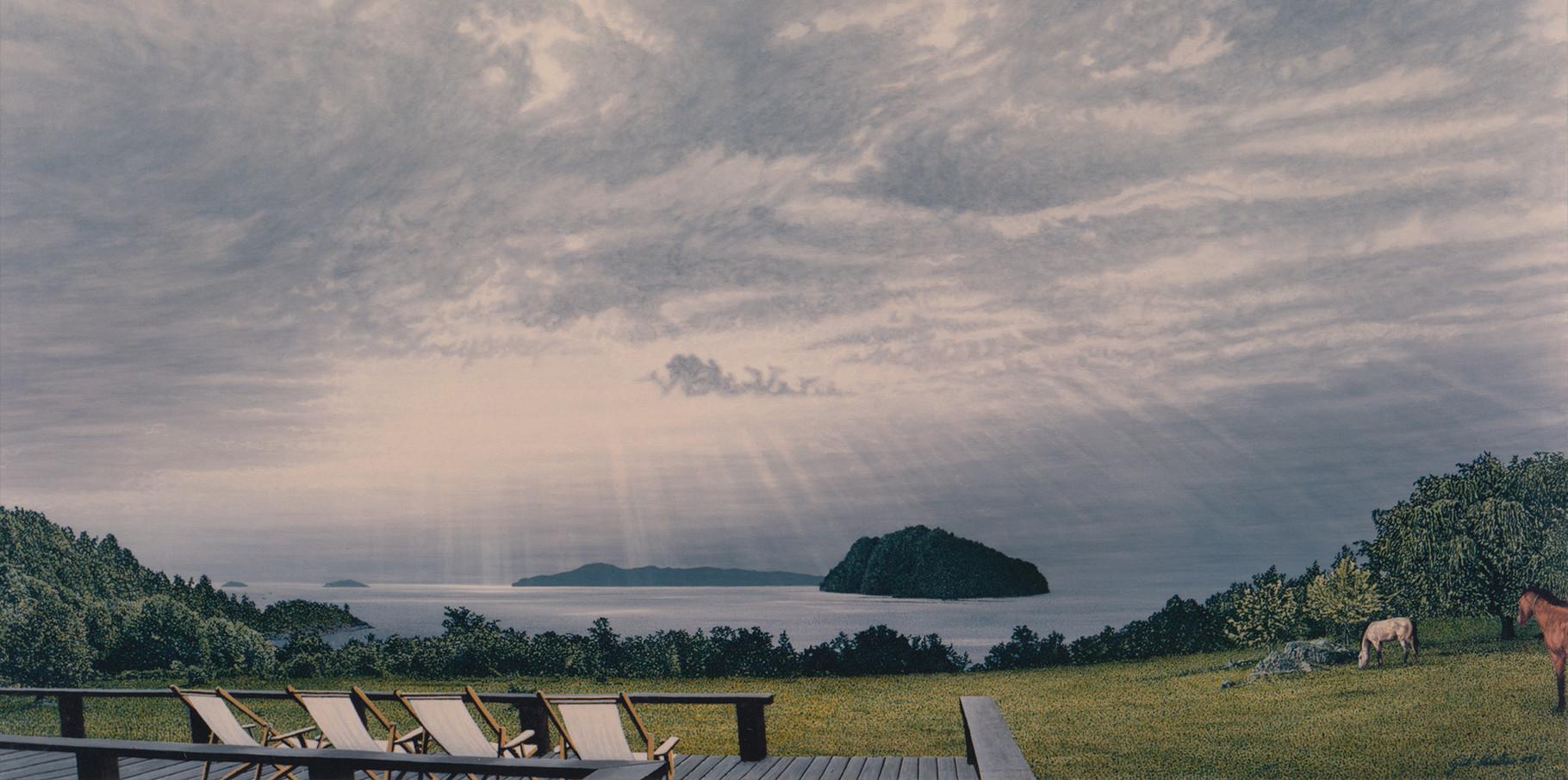 La terrasse de la maison du Lago Ranco   Acrylique sur toile  1993  195x97