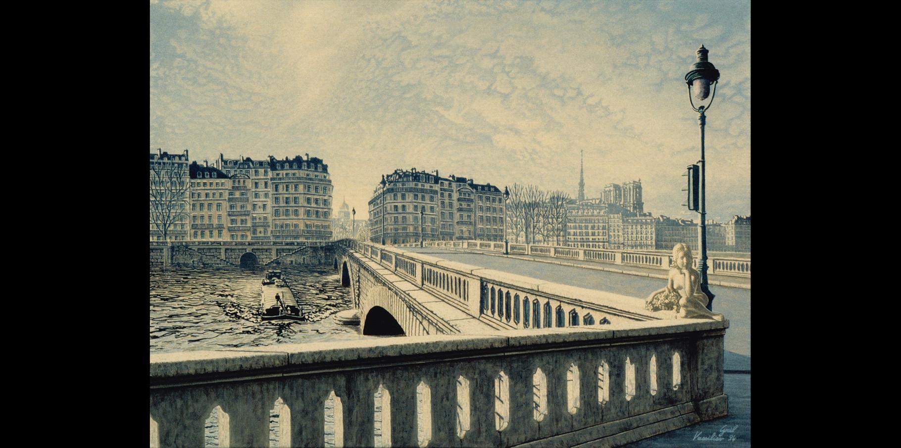 Pont de l' Ile Saint-Louis - acrylique sur toile