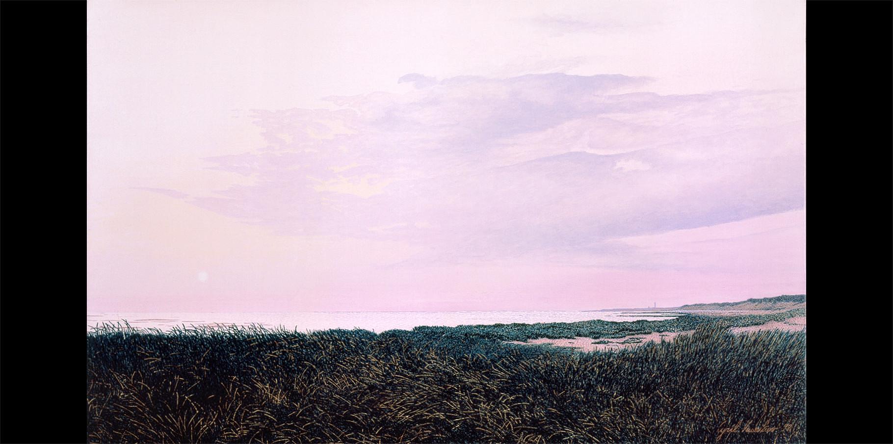 Vue au loin le Phare des Baleines  Acrylique sur toile  1992