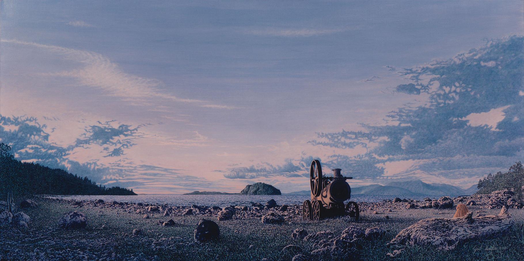 La Plage   Acrylique sur toile  1991  195x97