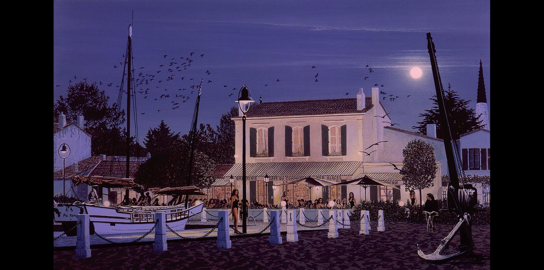 Café du Commerce de Pierre Olivier   Acrylique sur toile