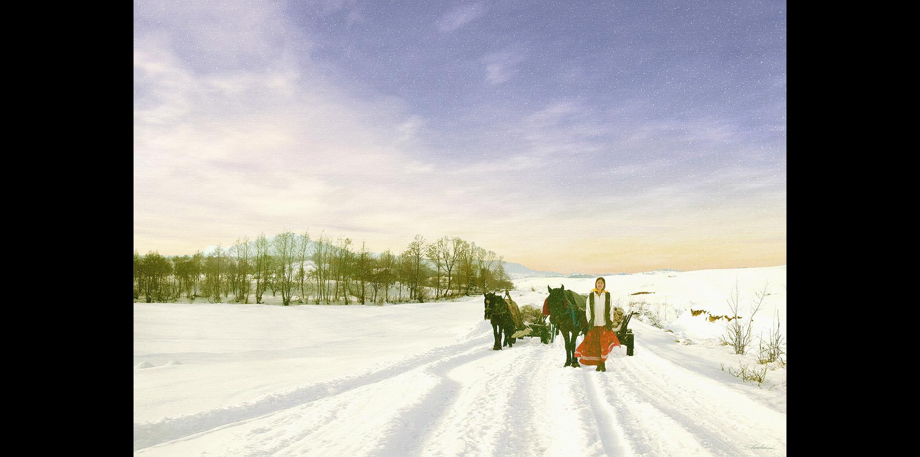 Femme tzigane dans la neige