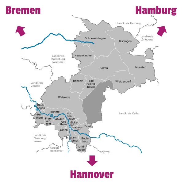 Karte, die die Lage des Landkreises im Städtedreieck Hamburg, Hannover, Bremen zeigt.